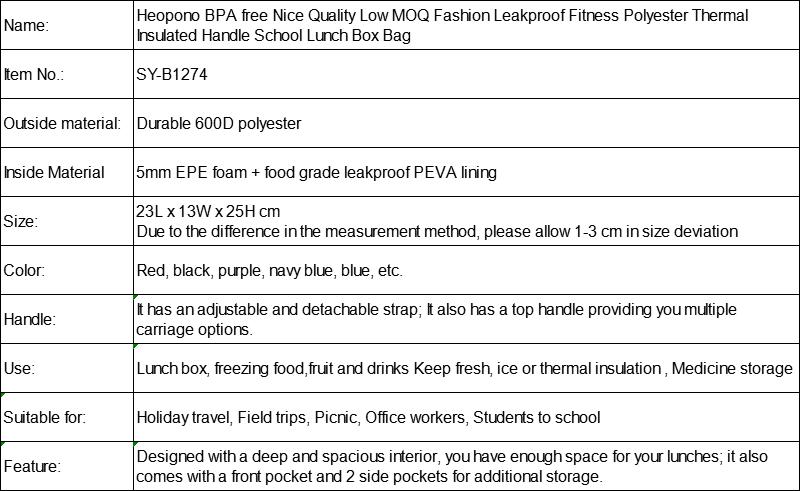moda leakproof fitness poliéster térmico isolado lidar