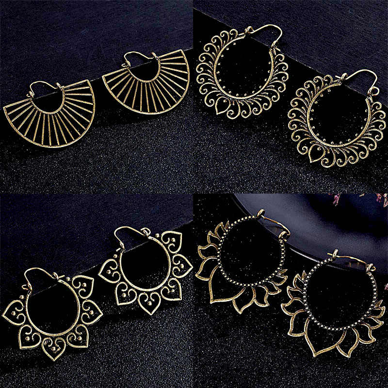 30 stile Indian Tribal Messing Ohrring Baumeln Ohrring Blume Verzierten Gypsy Ohrring Für Frauen Boho Vintage Ohrring