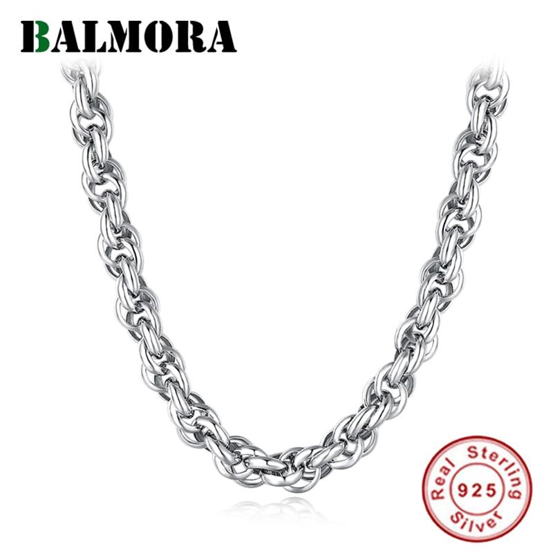 BALMORA Real 925 argent Sterling Simple ondulé collier chaînes pour femmes hommes garçons rétro Vintage Punk mode bijoux cadeau