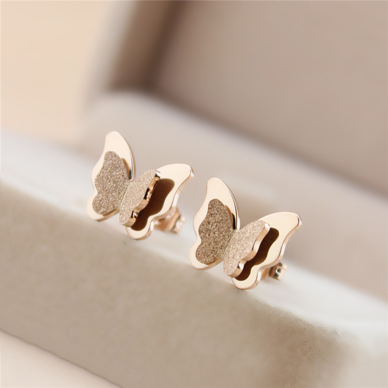 2020 Fashion Frosted Female Insect Earrings Rose Gold Earrings Jewelry