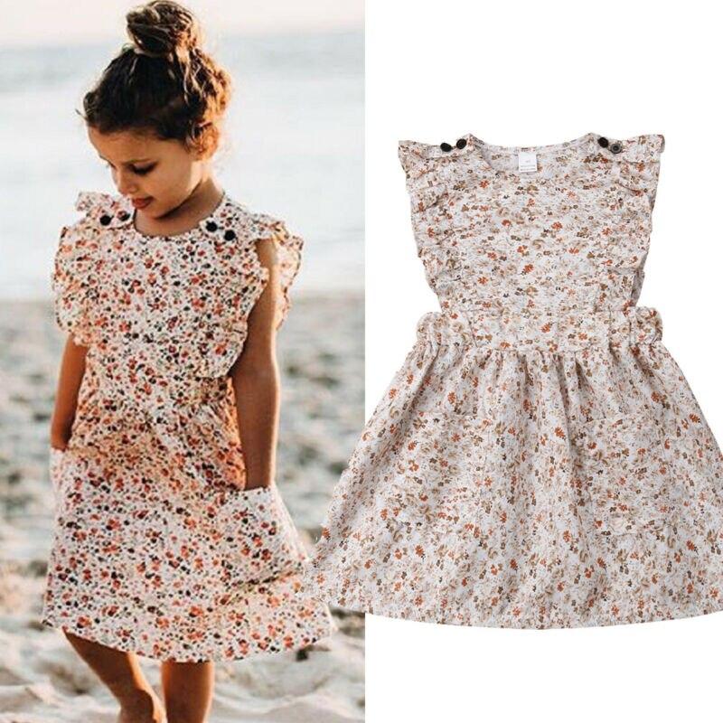 Toddler Kids Baby Girls Floral Clothes Ruffle Short Dress Tutu Sundress