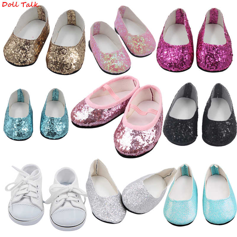 New Fashion Baby Sequins Doll Shoes 7cm Manual Shoes Lovely 43cm Dolls Baby New Born and 18 inches American Doll Free Shipping
