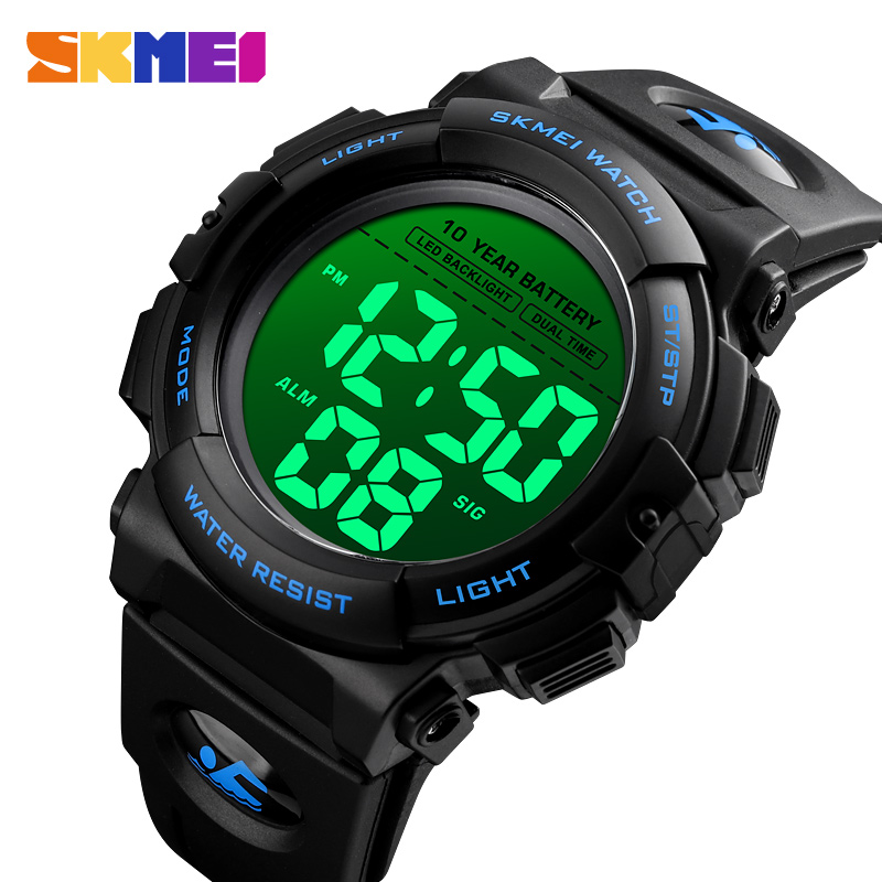 SKMEI Alarm-Clock Wristwatches Fitness Led-Backlight Digital 10-Year-Battery 1562 Mens
