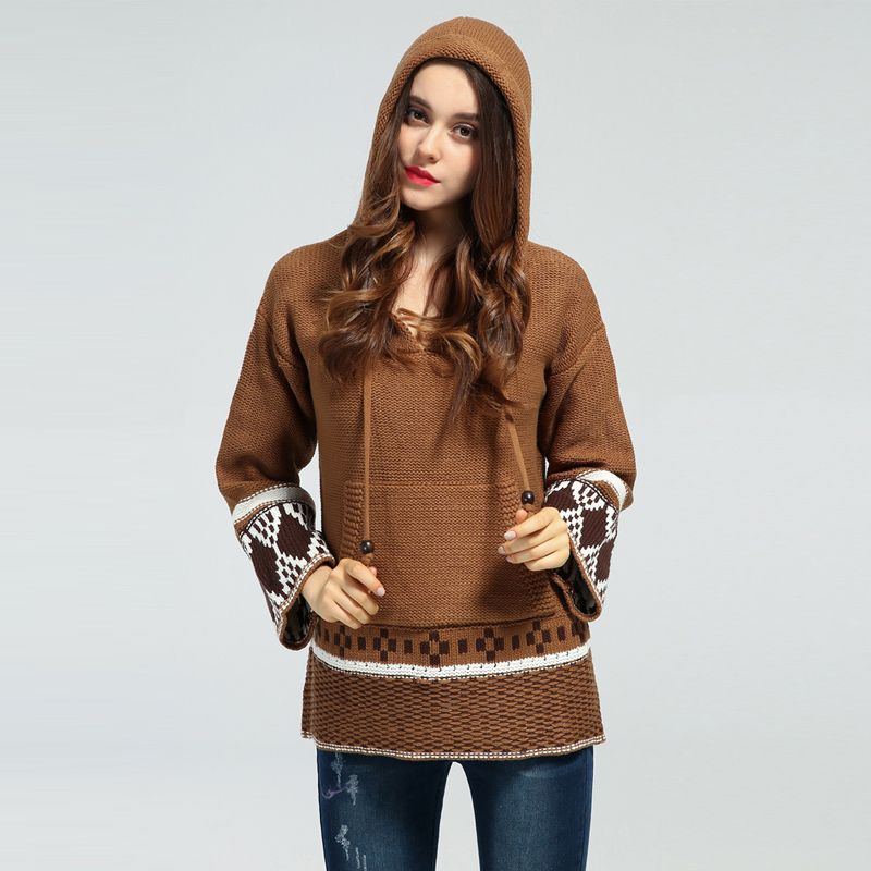 TEELYNN 2020 Boho Winter Knitted Women Sweater Pullovers Ethnic Embroidered Long Sleeve Loose Hippie Bohemia Hooded Sweaters