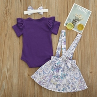 WEIXINBUY Summer Newborn Infant Baby Girls Clothing Set Flying Sleeve Romper + Suspender Skirt+Headband Clothes Outfits