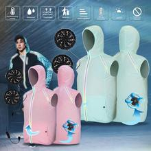 New Arrival Summer Hooded Fan Cooling Jacket Adjustable Fan Air Conditioned Cool Coat Outdoor Sun Protection Clothing Waistcoat air conditioning cool coat fan clothes summer air cooling jacket thin cotton heatstroke proof construction jacket men clothing