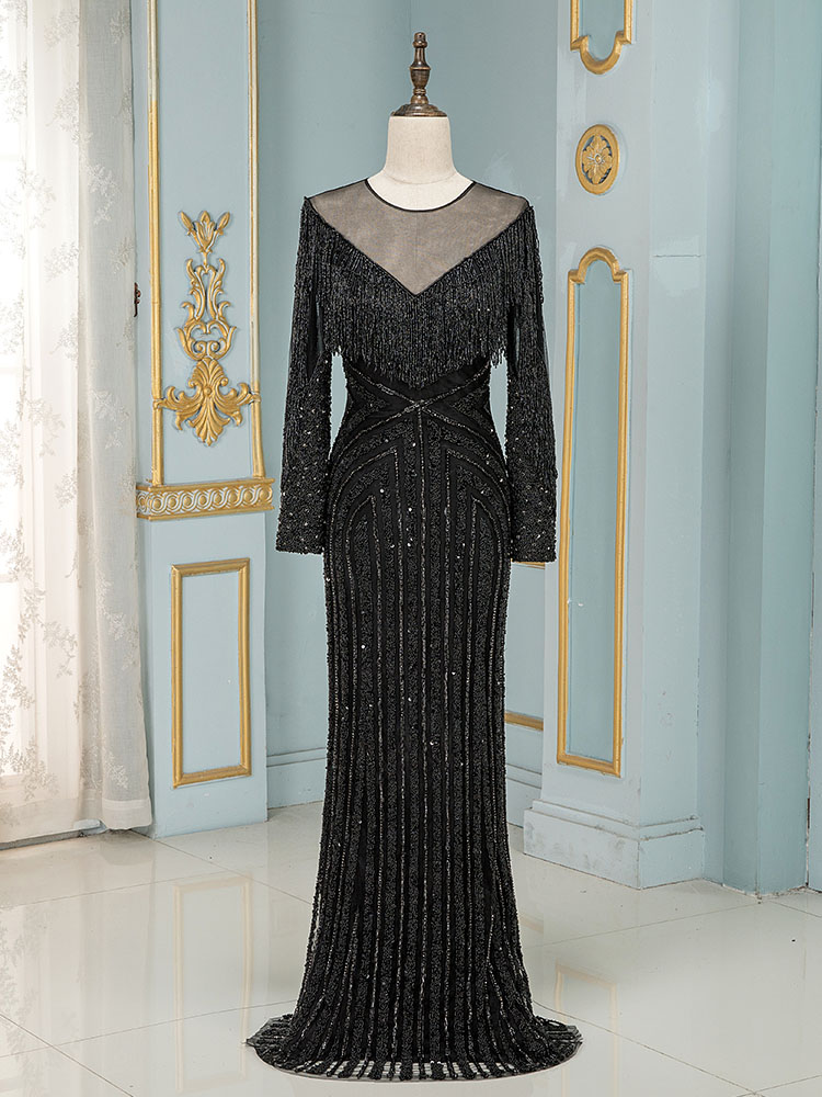 YQLNNE Couture Black Crystals Evening Dress Long Sleeve Mermaid Evening Gown Robe De Soiree