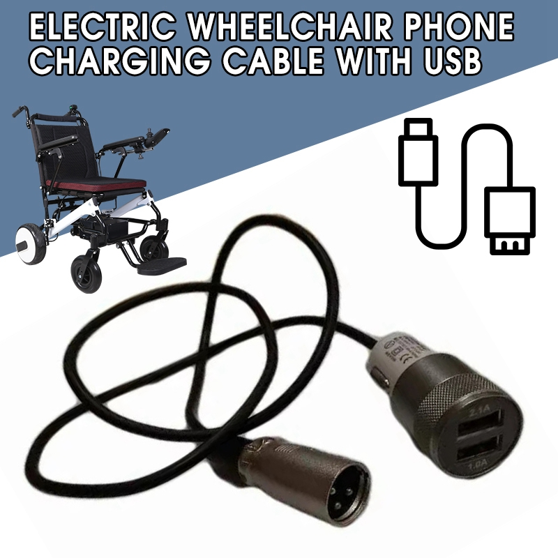 Protable Electric Wheelchair Phone Charging Cable With USB Fast Charging