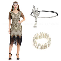 1920s Flapper Great Gatsby Dress Roaring 20s Costume Fringe Sequin Beaded Dress and Embellished Art Deco Dress Accessories XXXL