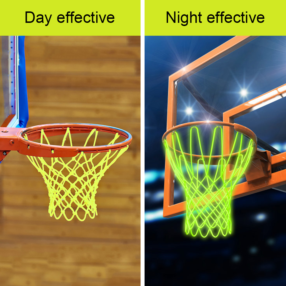 Replacement Nylon Basketball Rim Luminous Basketball Net 12 Loops Hoop Basket Rim Net Indoor Outdoor Sun Powered
