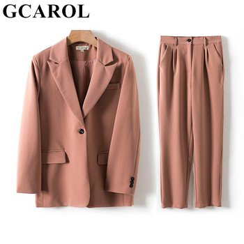 GCAROL Women Blazer And Guard Pants Sets Two Pieces OL Single Breasted Jacket Formal Suit Pleated Trousers Spring Autumn 1
