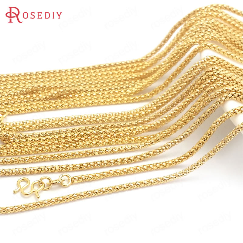 (37952)2PCS Full Length 45CM 24K Gold Color Copper With M Shape Clasps Finished Necklace Chains Jewelry Making Supplies