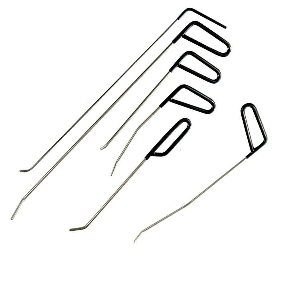 6PCS PDR Rod Tool Kit - Perfect for Door Dings Hail Repair and Dent Removal PDR Hook - Dent Repair Tool Set