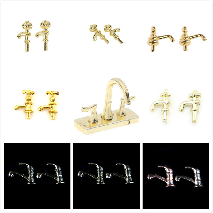 1:12 Dollhouse mini alloy bathtub faucet simulation water tap model toys 2/_