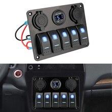 12/24V 콘센트 조합 듀얼 USB 슬롯 소켓 방수 디지털 전압 퓨즈 5 갱 LED 로커 스위치 패널
