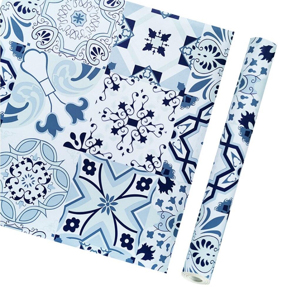 Yazi Vintage Blue Vinyl Self Adhesive Ceramic Tile Floral