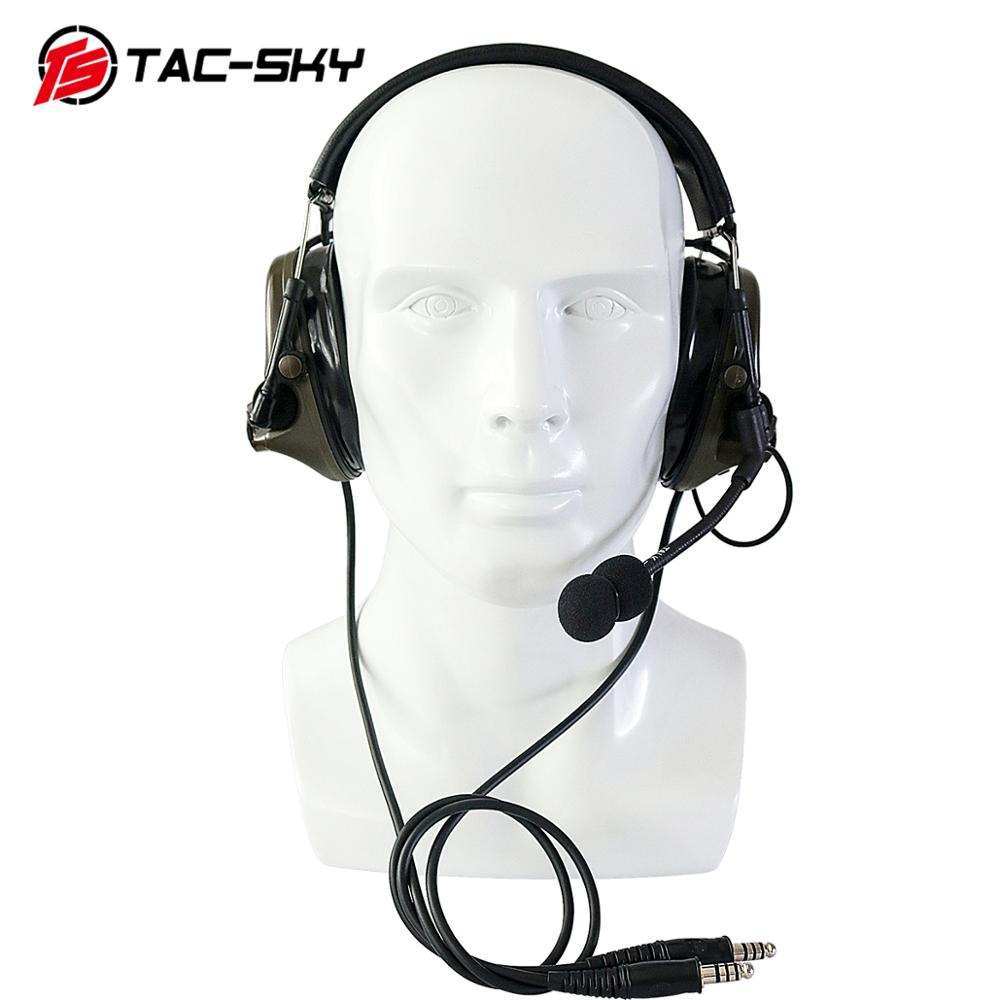 TAC-SKY COMTAC III Silicone Earmuffs Double Pass Edition Outdoor Hunting Sports Noise Reduction Pickup Tactical Headset - FG