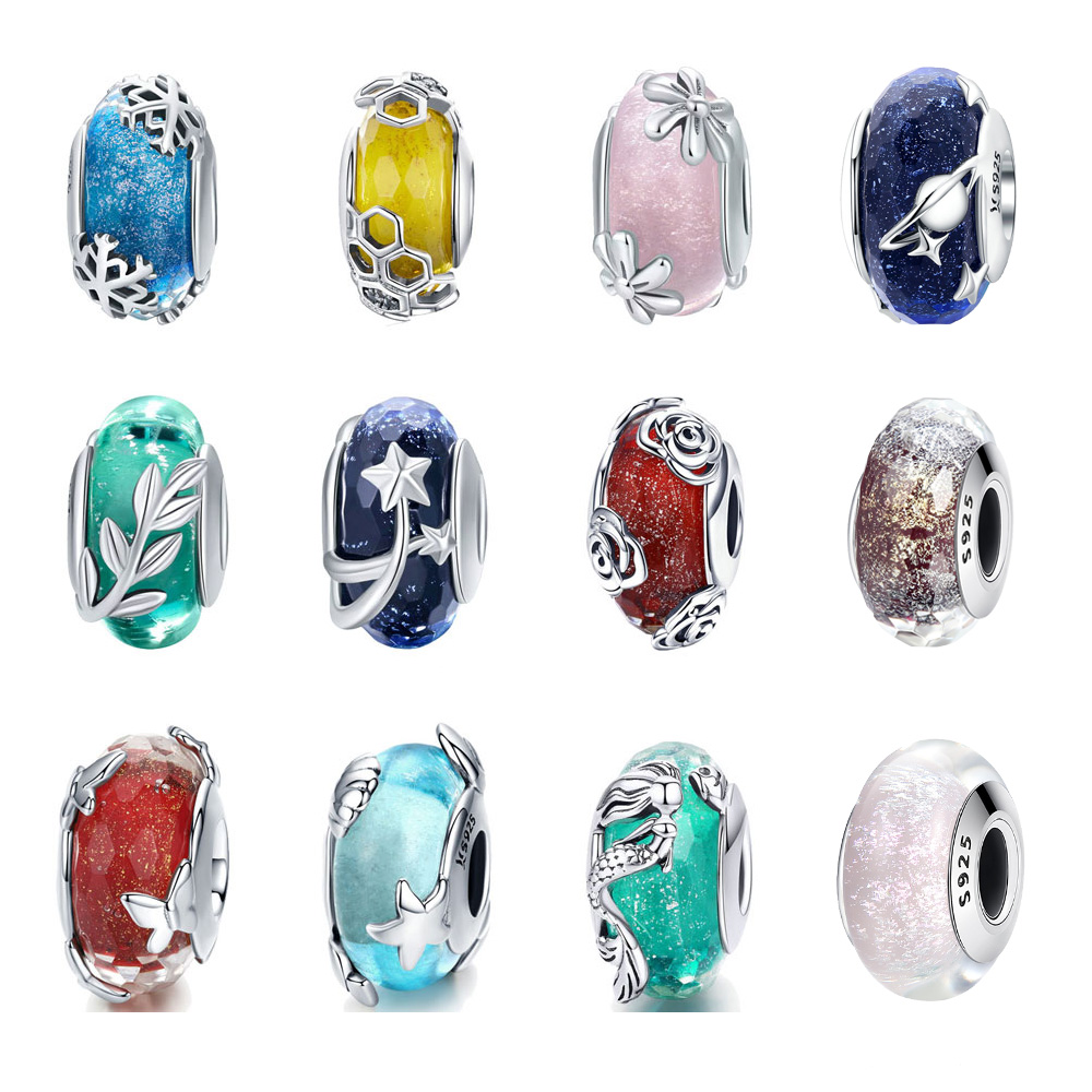 BISAER 925 Sterling Silver Glass Beads Snowflakes Mermaid Star European Beads Charms fit for Charm Bracelets Silver 925 Jewelry