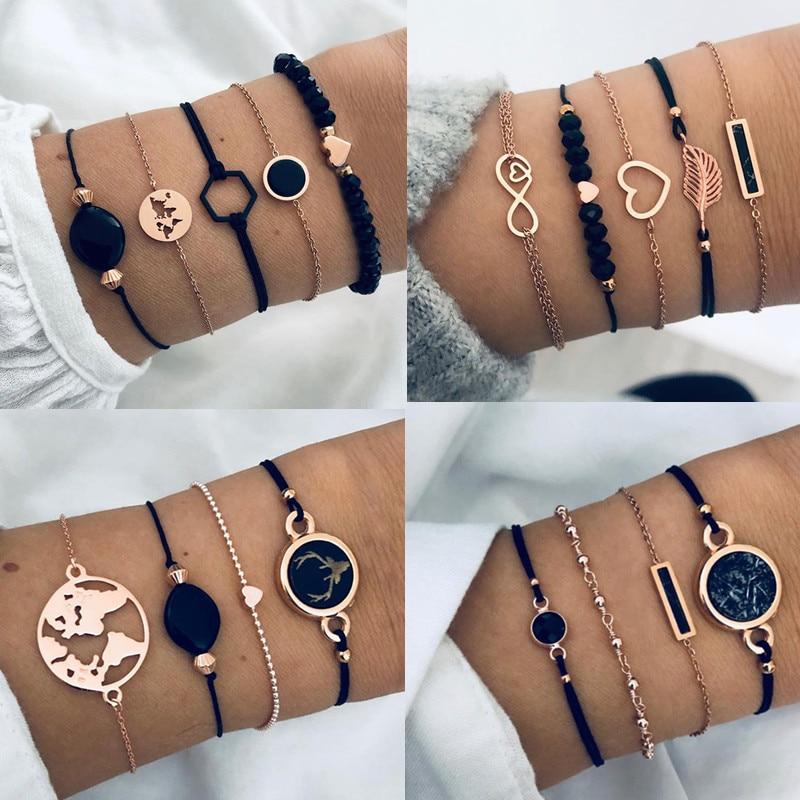 DIEZI Bohemian Black Gem Stone Beads Bracelets Bangles For Women Heart Map Ocean Gold Color Chain Bracelets Sets Jewelry Gifts