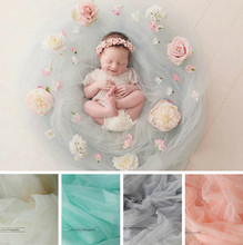 Newborn Photography Soft Yarn Baby Background Blanket Artificial Flower Decoration Baby Shoot Accessories Infant Flower Props(China)