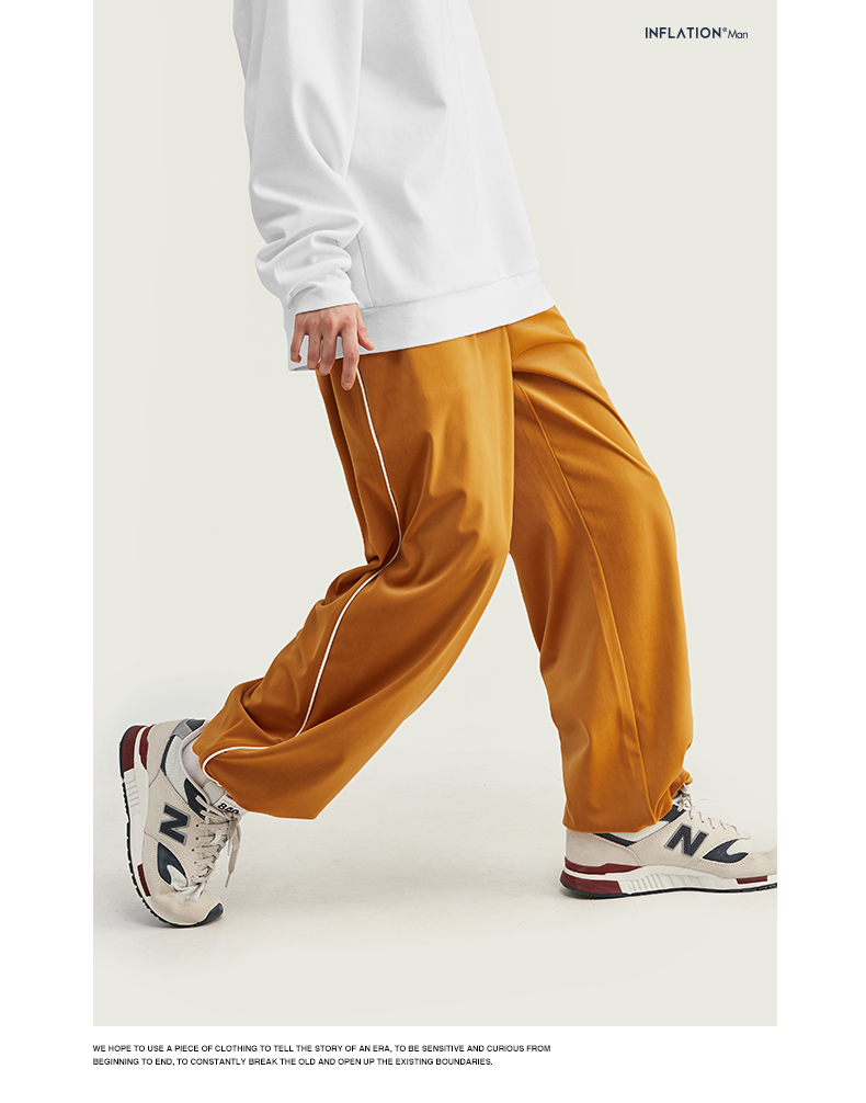 INFLATION 2020 FW Men Track Pants Loose Fit Overalls Solid Color Men Track Pants Streetwear Flannelette Fabric Men Pants 93381W 65