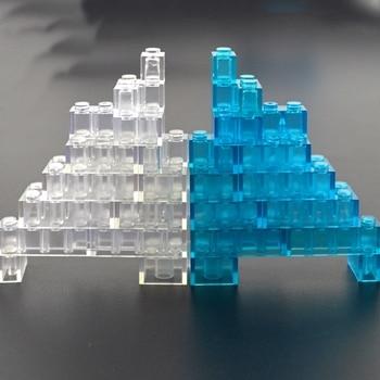 Transparent Thick Brick Model DIY Building Block Clear Brick 1x1 1x2 1x4 MOC Construction Compatible All Brands Toys 1