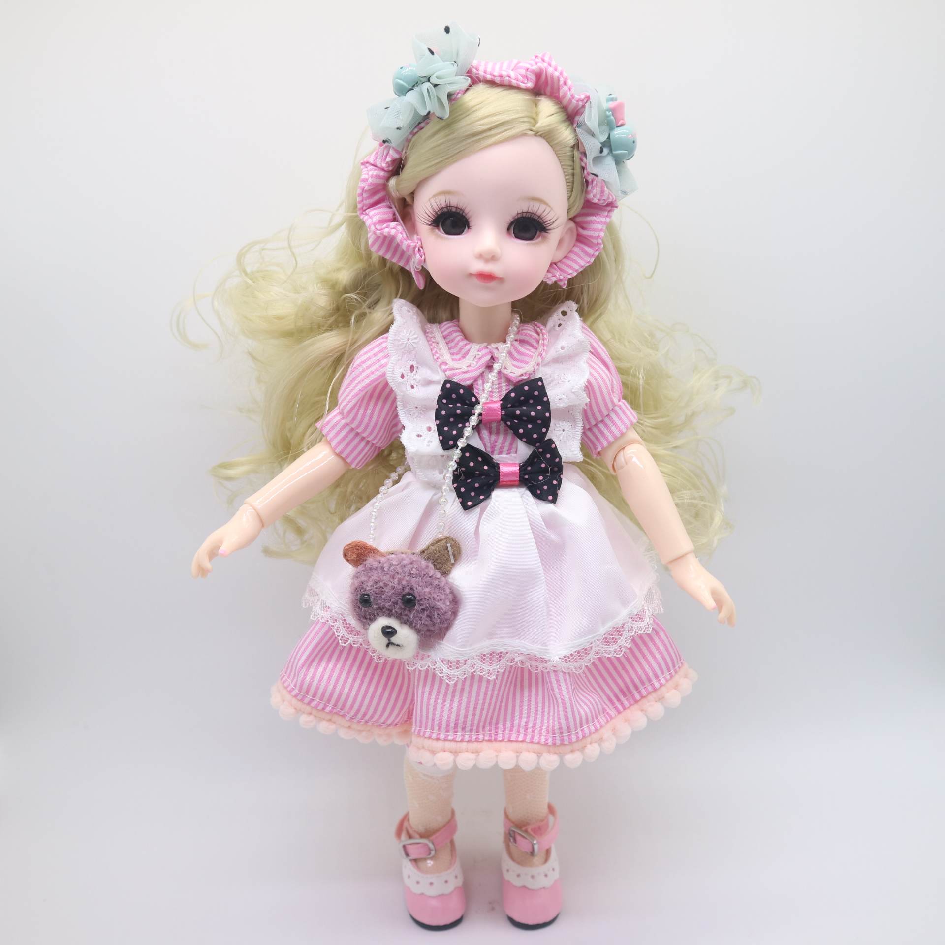BJD Girl dolls 30 CM plastic doll selling with dress,wigs