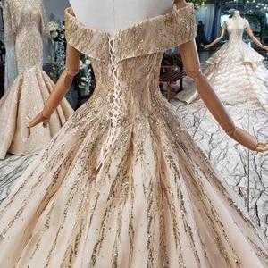Image 5 - HTL786 elegant long evening gown 2020 sequined off shoulder sweetheart golden lace dresses evening vestidos de noche elegantes