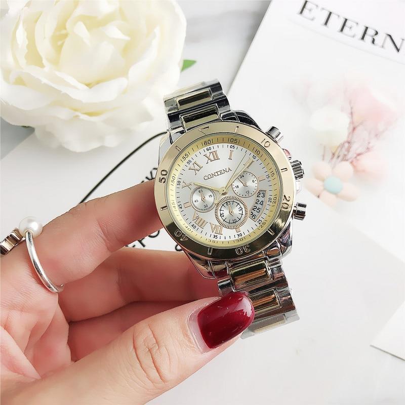 CONTENA 2019 Luxury Women Wristwatch Buniness Rhinestone Full Steel Women's Watches Quartz Montre Femme Relojes Mujer