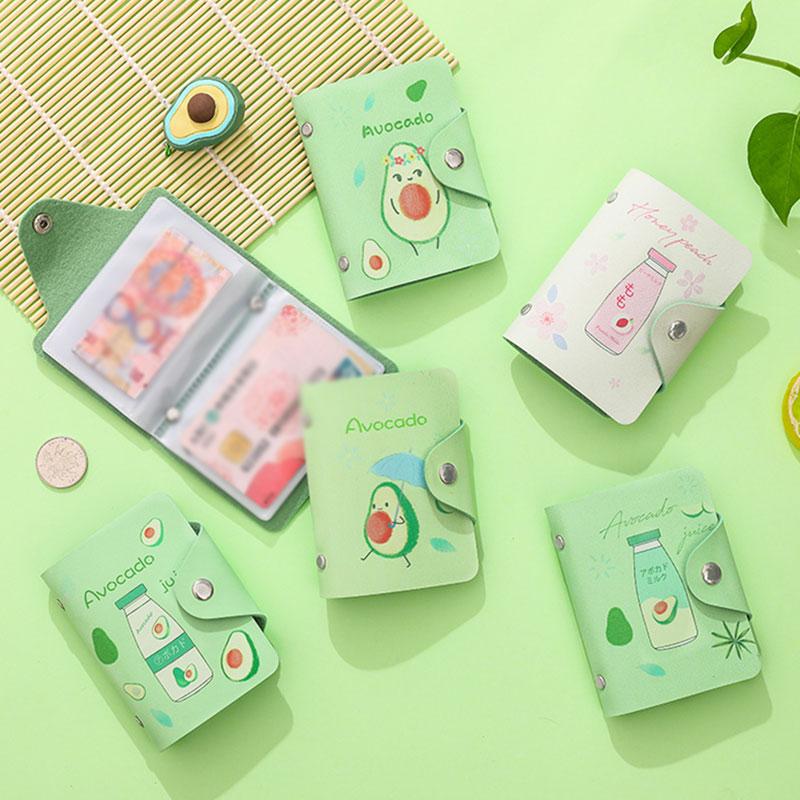 Fruit Avocado PU Leather 20 Bits Card Case Business Card Holder Men Women Credit Passport Card Bag ID Bank Passport Card Wallet