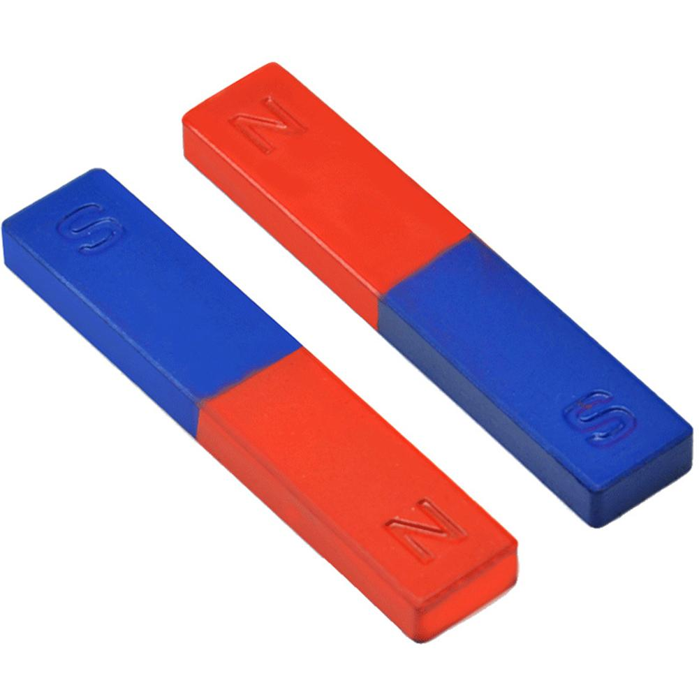 New 2Pcs/Set Bar Magnet Physics Experiment Tool Pole Teaching Tool Red Blue Painted N/S Bar Magnet