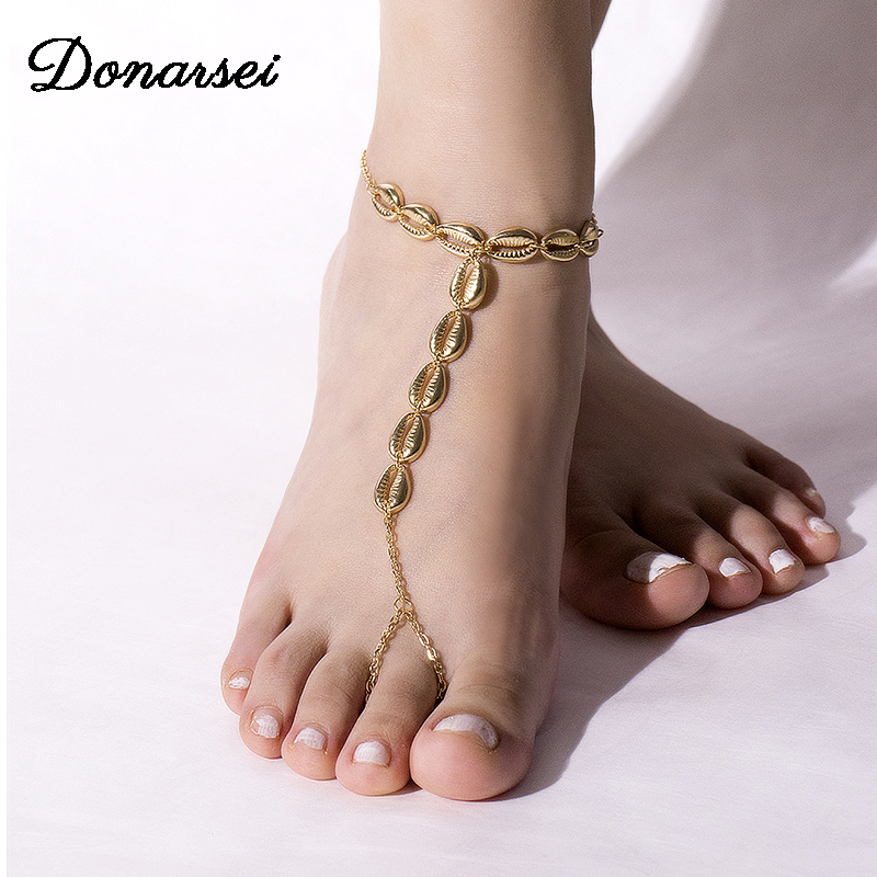 Donarsei Simple Sea Shell Anklet Toe Chain For Women Summer Beach Cowrie Ankle Bracelet On The Leg Foot Jewelry