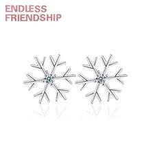 Endless Friendship Woman Stud Snow earrings Snowflak Silver Earrings for women fashion jewelry Creative earring girlfriend gift