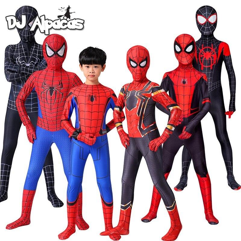 Железный костюм Человека-паука для косплея Удивительный Человек-паук костюм на Хэллоуин Питер Паркер зентай костюм супергероя боди для дет...