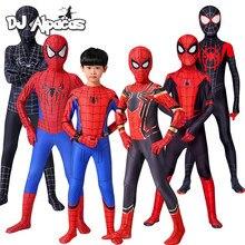 Aranha de ferro cosplay incrível spider-boy homem traje de halloween peter parker zentai terno superhero bodysuit para crianças adulto