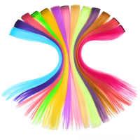 Jeden kawałek różowy Rainbow przedłużanie włosów dla warkocze fałszywe Ombre kolor fioletowy syntetyczne Halo kawałki włosów włosy doczepiane clip in Ins
