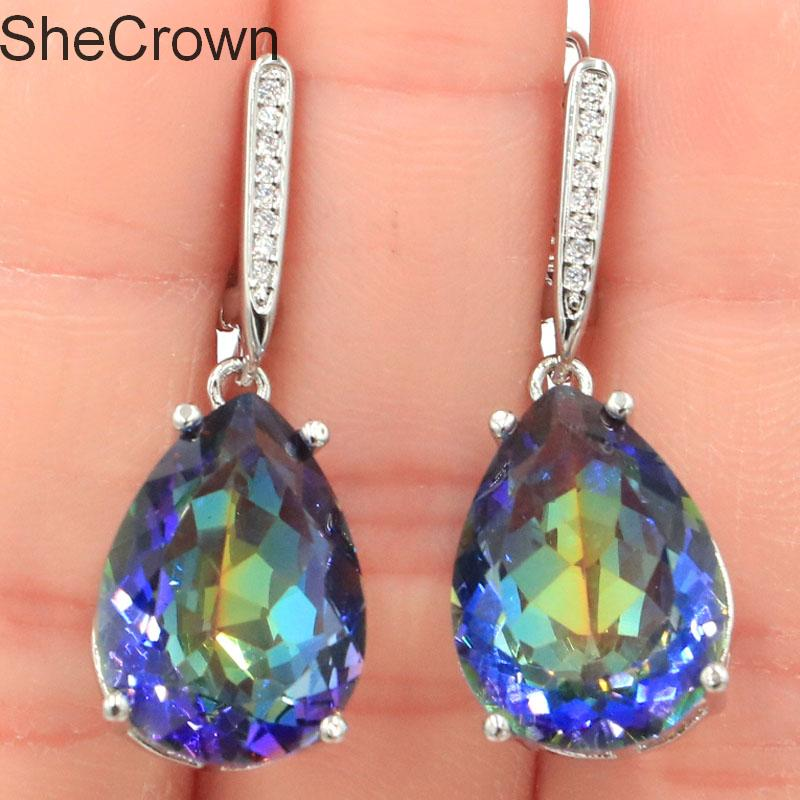 35x13mm Deluxe Water Drop Shape 18x13mm Fire Rainbow Mystic Violet Topaz CZ Ladies 925 Silver Earrings