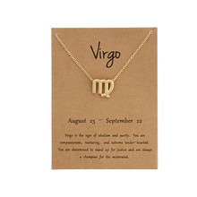 Fashion 12 Constellation Virgo Necklaces Pendants Gemini Taurus Necklace Birthday Gifts Message Card for Women Jewelry