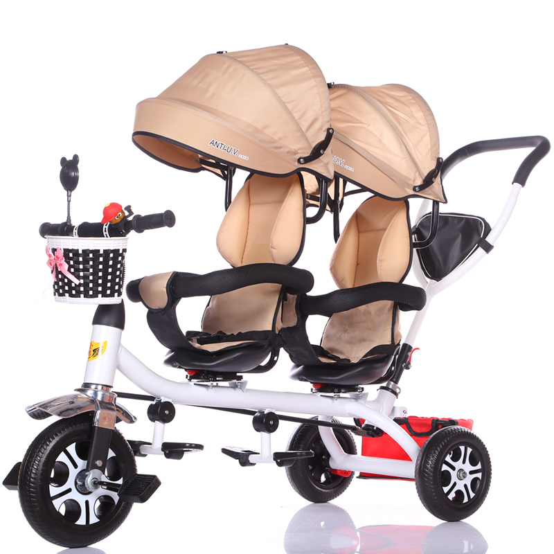 Authentic Jinming Children's Tricycle Twin Stroller Double Baby Bicycle Baby Stroller Stroller