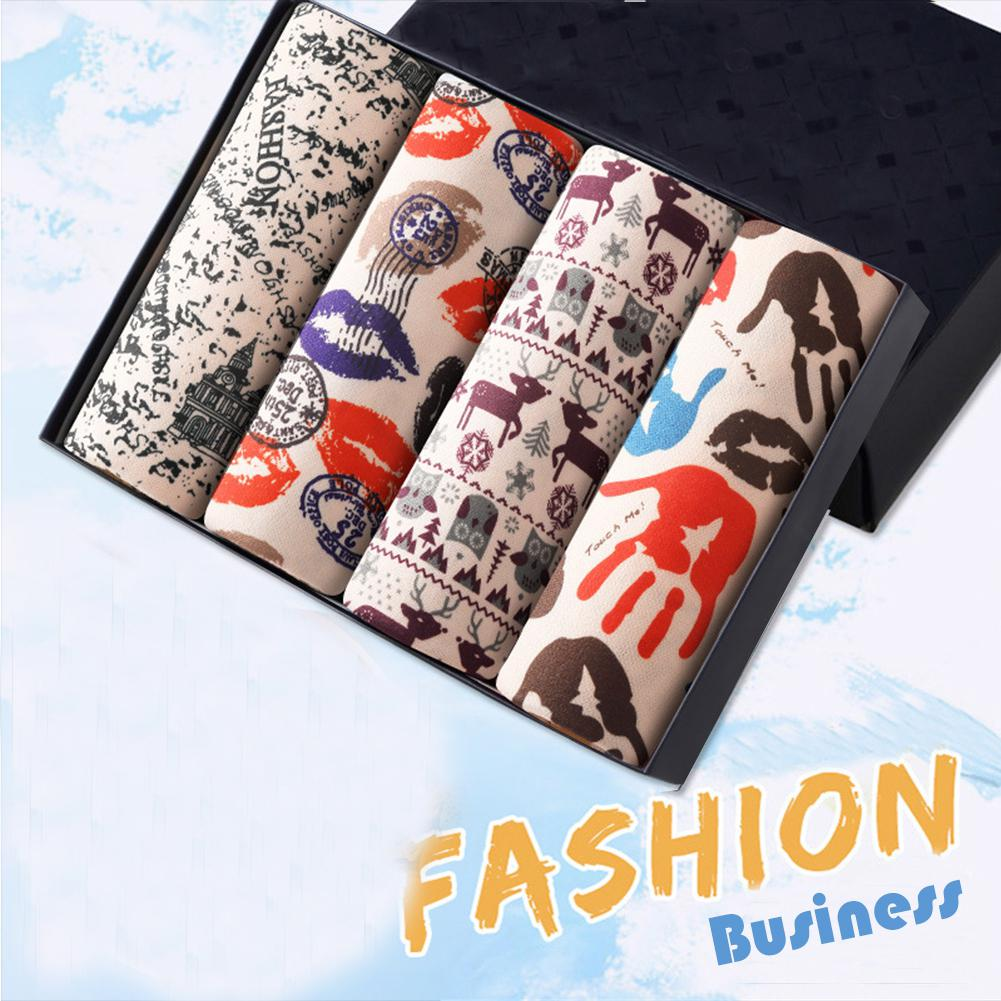 4pcs/set Man Fashion Pattern Print Boxers Casual Slim Fit Male Breathable Soft Unerwears Homme Oversized Chic Underpants