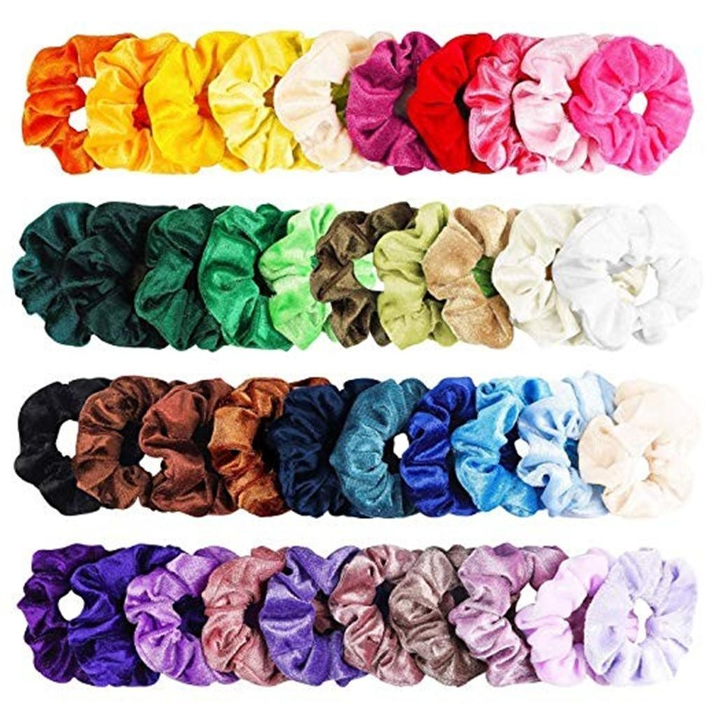 40 Pcs Vintage Hair Scrunchies Stretchy Velvet Scrunchie Pack Women Elastic Hair Bands Girl   Headwear   Plain Rubber Hair Ties ##