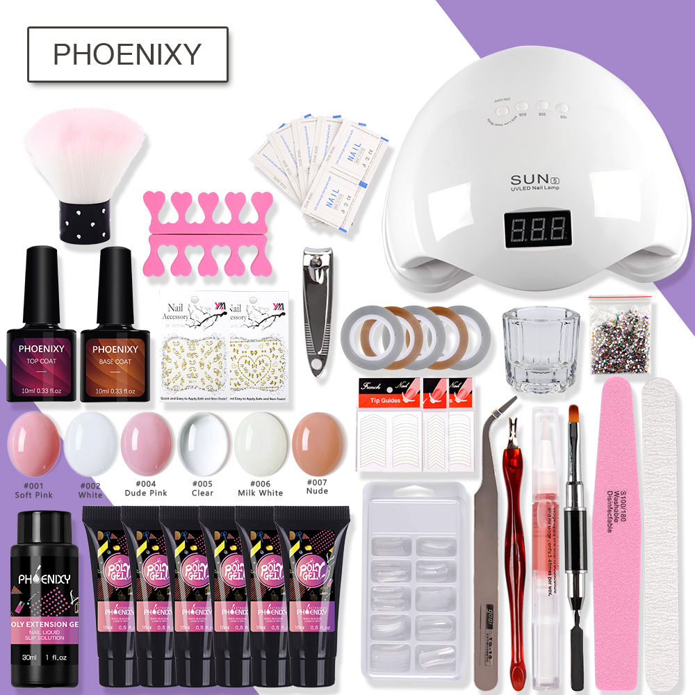 Polygel Nail Kit Manicure Starter Kit With 48W LED Lamp For Nail Builder Gel Hard Jelly Gel Art Tool For Nail Extension Set