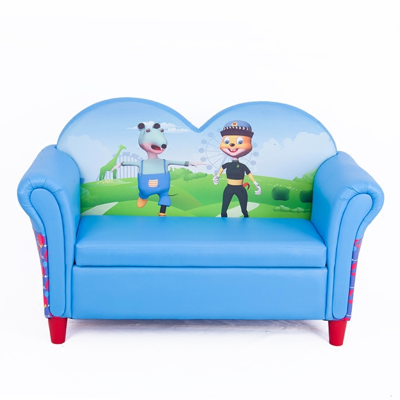 Originality Lovely Blue Children Sofa Chair Cartoon Double Person Baby Small Sofa Leather Art Sofa Stool Bean Bag Zitzak