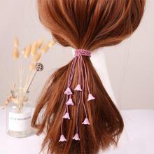 120pcs/lot DIY Simple Fabrics Aeolian Bell Long Hair Band Elasticity Ponytail Ru