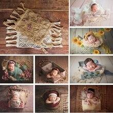 Ylsteed yenidoğan fotoğraf Backdrop battaniye Bohemian stil el örgü kenevir halat battaniye yenidoğan çekim bebek fotoğraf Prop
