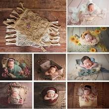 Ylsteed 新生児写真撮影の背景毛布ボヘミアンスタイル手ニット麻ロープブランケット撮影ベビー写真プロップ