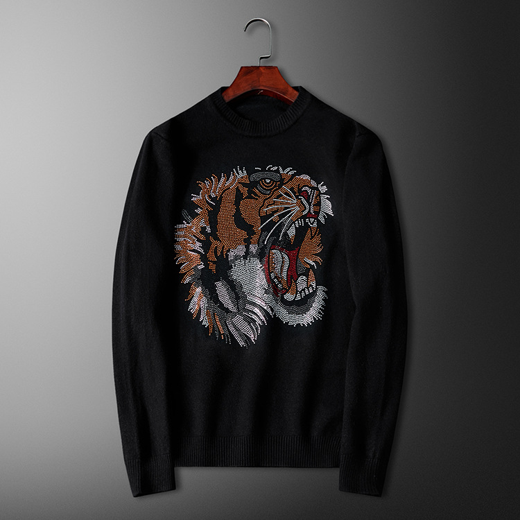 New Men Luxury Gentleman Cotton Embroidery Tiger Head Diamonds Casual Sweaters Pullover Asian Plug Size High Quality Drake #M102