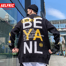 AELFRIC Letter Knitted Mens Sweater 2019 Autumn Winter Harajuku Fashion Hip Hop Outwear Ripped Casual Cotton Pullover Streetwear(China)