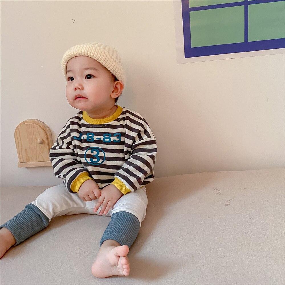 Spring New Baby Girls Sweatshirts Set Long Sleeve Tops + Pants Kids Toddler Boys Pullover Stripe Sweatshirt T-shirt Clothes Set 4