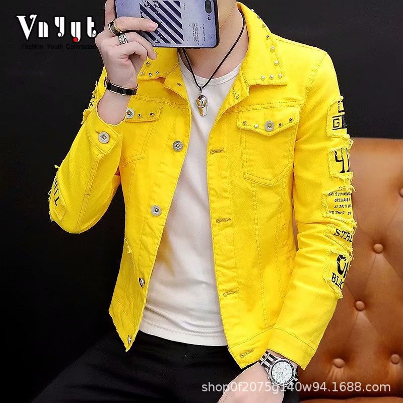 New 2020 denim jacket Korean teenagers Cotton yellow/black/red/white students men spring autumn River hole youth dress coat